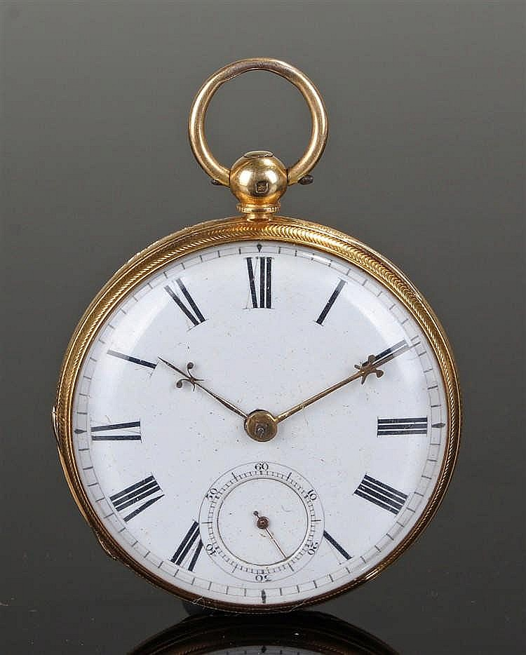 Early Victorian 18 carat gold open faced pocket watch, by Ganthony of New B