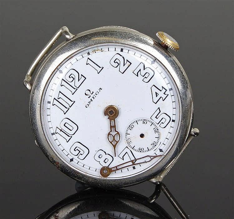 Omega gentleman's wristwatch, the white enamel signed dial  with Arabic hou