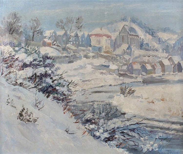 Early 20th Century oil on canvas , Snow scene indistinctly signed H Terboer