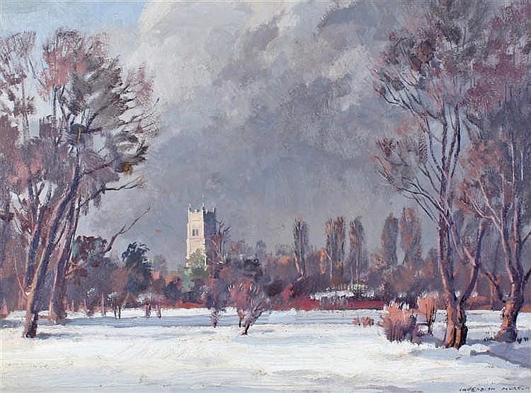 Cavendish Morton (1911-2015), Eye Church in Winter, Oil on board, signed lo
