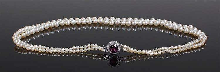 Tourmaline pearl and diamond necklace, the tourmaline clasp at 1.85 carat s