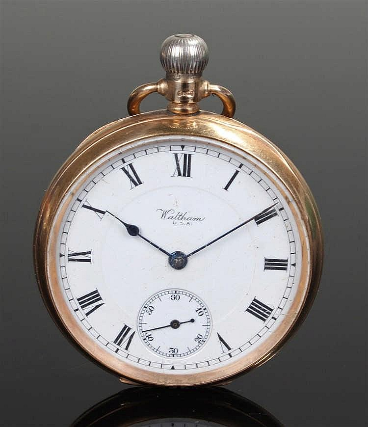 Waltham 9 carat gold open face pocket watch, the signed white enamel dial w