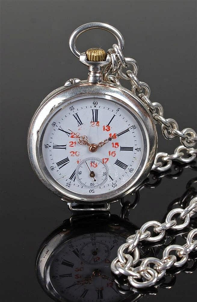 Silver open face pocket watch, the white enamel dial with Roman hours, red