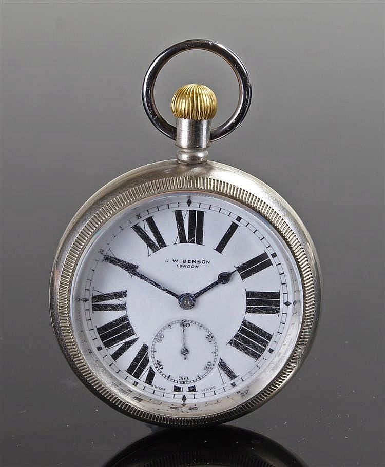 J W Benson open face nickel pocket watch, signed white enamel dial with Rom