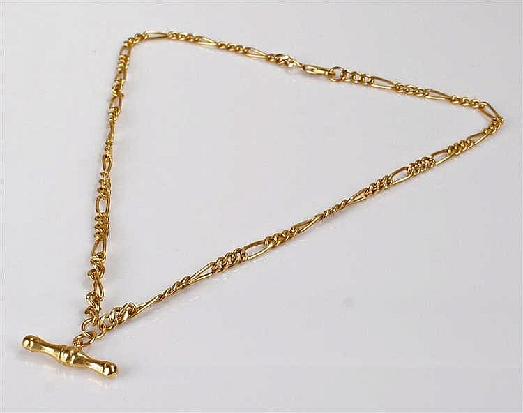 9 carat gold watch chain, the T bar with link chain and clip, 50cm long, 9.