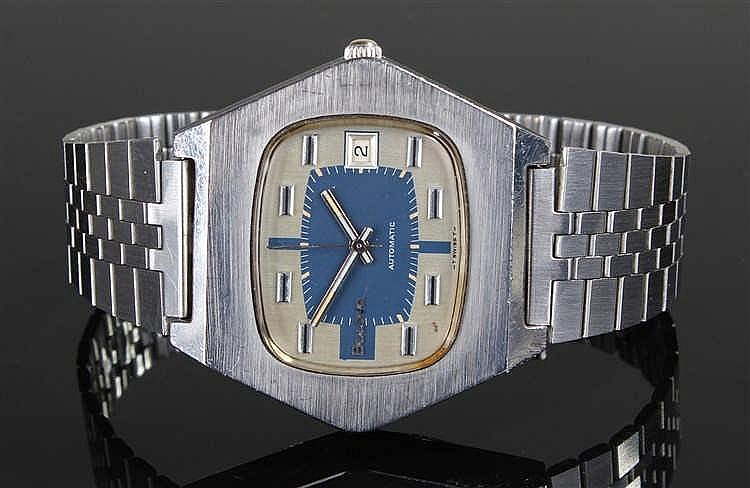 Bulova Automatic gentleman's stainless steel wristwatch, the angled case wi