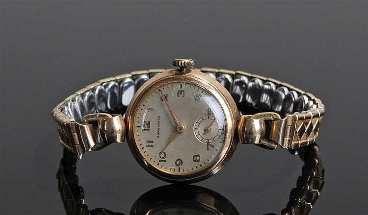 Emka ladies 9 carat gold wristwatch, the signed silvered dial with Arabic h