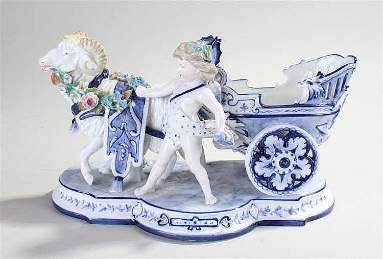 Meissen porcelain figure, the putto with a carriage and a ram with flowers
