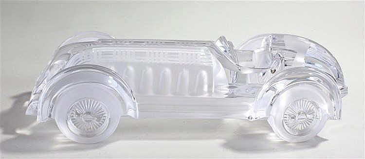 Daum crystal glass car, with Daum France etched to one side, 38cm long