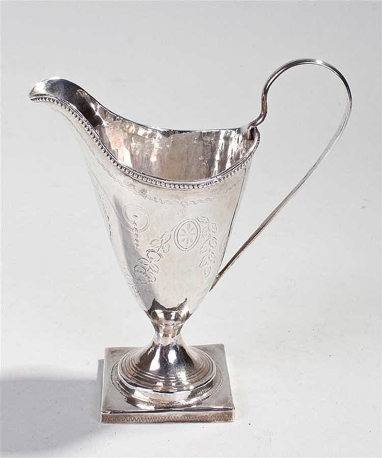George III silver helmet shaped cream jug, London 1787, makers mark obscure