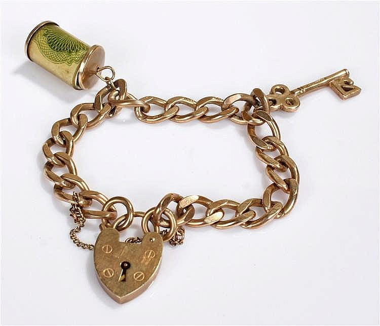 9 carat gold curb link bracelet, of flattened link form with a heart shaped
