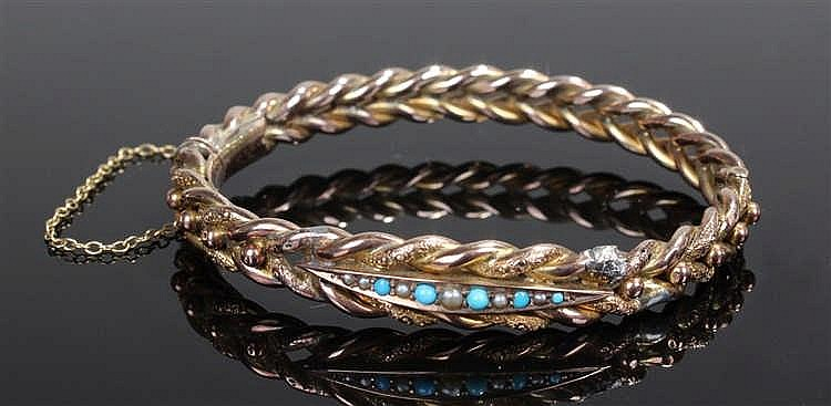 Victorian turquoise and seed pearl bangle, the central row of stones set wi
