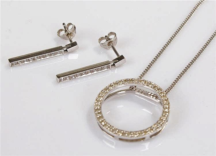 9 carat white gold necklace and a pair of diamond earrings, the circular pe