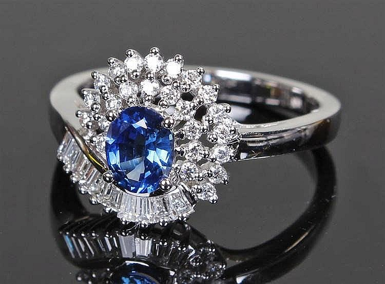 David Jerome Collection Sri Lankan sapphire and diamond ring, the central o