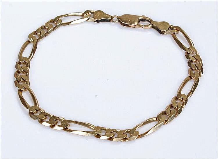 9 carat gold bracelet, with clip end and link chain, 12.1 grams