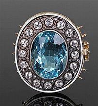 Large aquamarine and diamond set clasp, the aquamarine at approximately 14