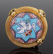 Victorian micromosaic brooch, the brooch with doves and a bow and arrow sur
