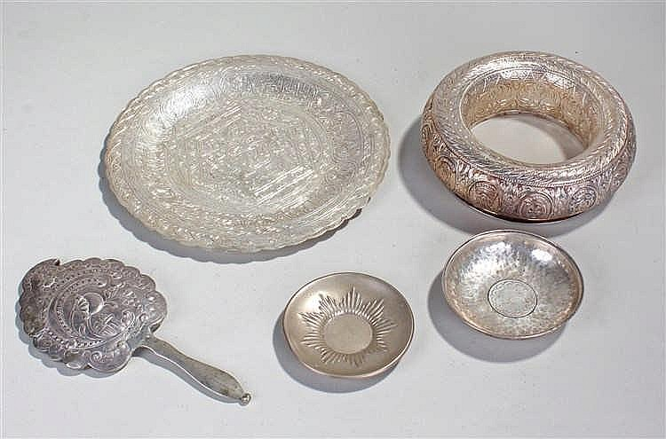 Middle Eastern white metal, to include a ring, a dish, a coin set dish, ano