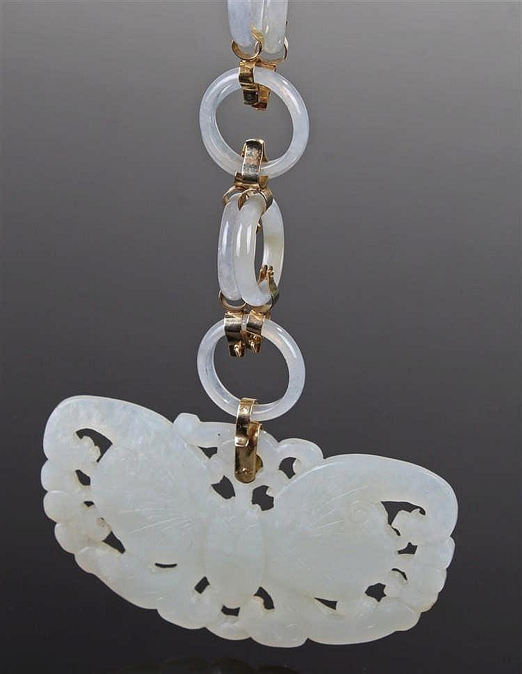 Chinese celadon jade pendant necklace, of large proportions, the butterfly