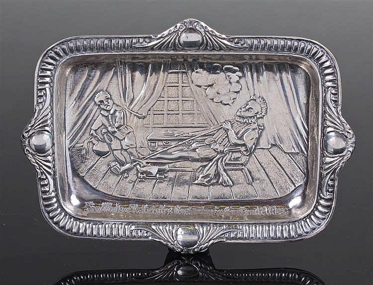 Victorian silver dish, Birmingham 1897, maker D & Co, with an embossed scen