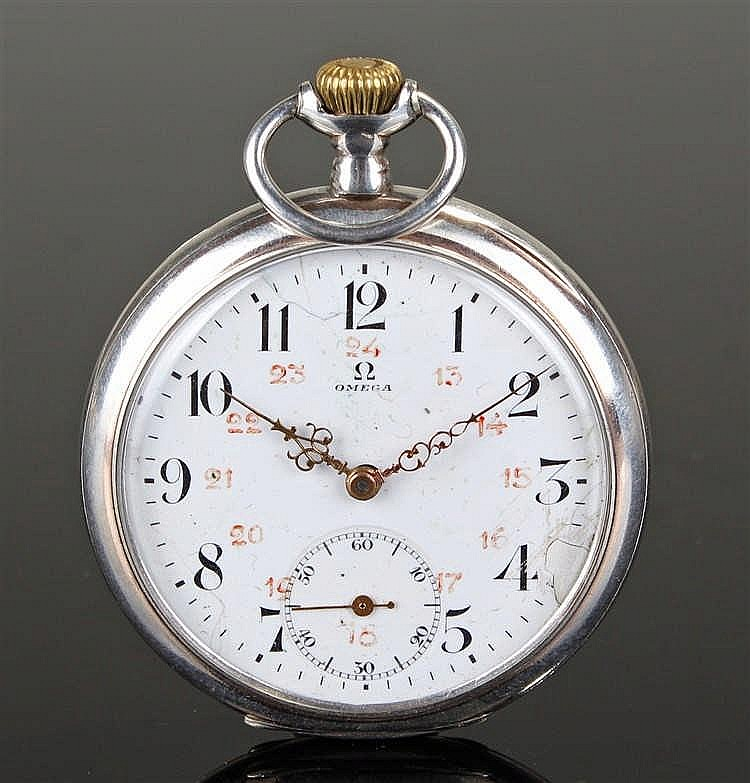 Omega open face silver plated pocket watch, the signed white enamel dial wi