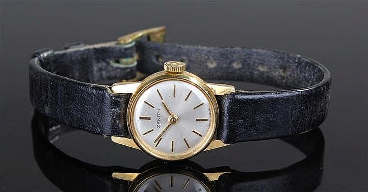 Zenith 18 carat gold ladies wristwatch, the silvered signed dial with gilt