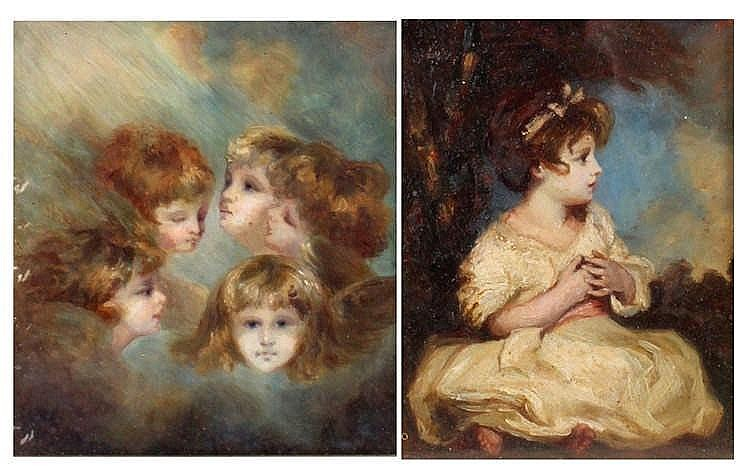 Two 19th Century porcelain plaques, painted with images after Sir Joshua Re
