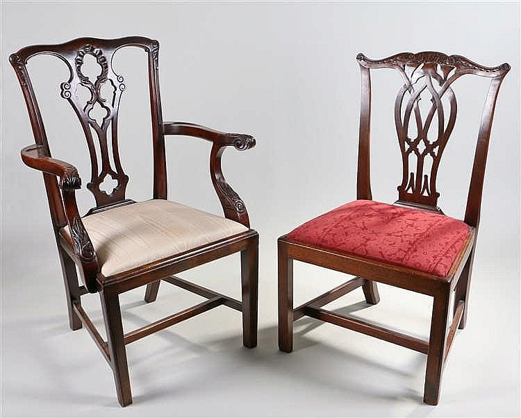 George III mahogany chair, in the Chippendale style, the scroll top rail ab