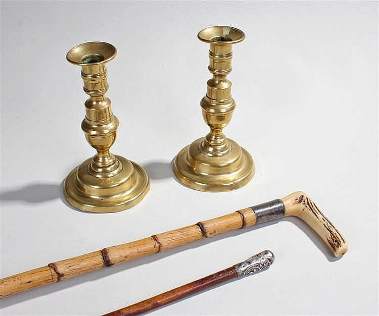 Fusiliers swagger stick, together with a horn handled stick and a pair of b