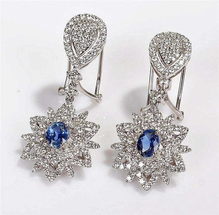 David Jerome Collection Sri Lankan sapphire and diamond pendant earrings, t