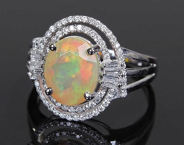 David Jerome Collection Brazilian opal and diamond ring, the faceted opal i
