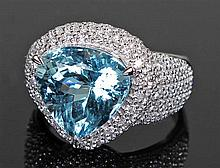 David Jerome Collection Brazilian aquamarine and diamond ring, the curved t