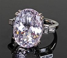 David Jerome Collection kunzite and diamond ring, the central oval mixed cu