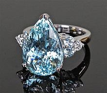 David Jerome Collection Brazilian aquamarine and diamond ring, the pear cut