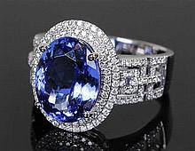 David Jerome Collection Tanzanite and diamond ring, the oval faceted Tanzan