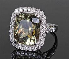 David Jerome Collection zultanite and diamond ring, the large central cushi