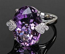 David Jerome Collection Brazilian amethyst and diamond ring, the oval facet