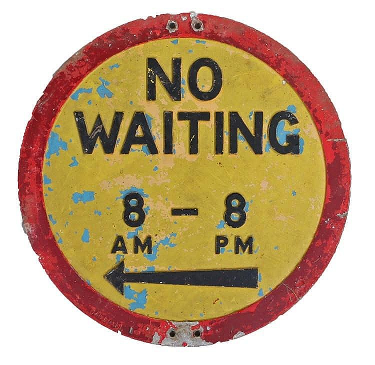 No Waiting 8 - 8 street sign, painted in yellow and red with black text, 51