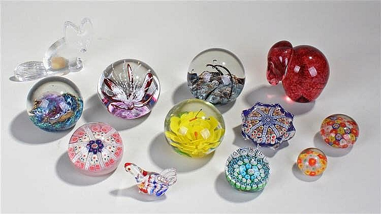Paperweights, to include Selkirk glass, millefiori examples, an elephant, a