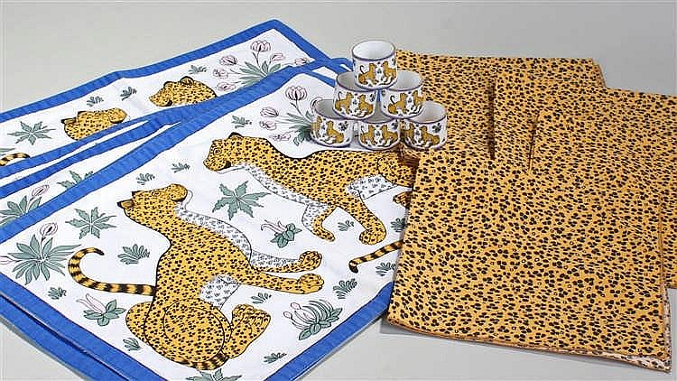 Hermes set, consisting of six leopard table mats, six leopard napkins and s