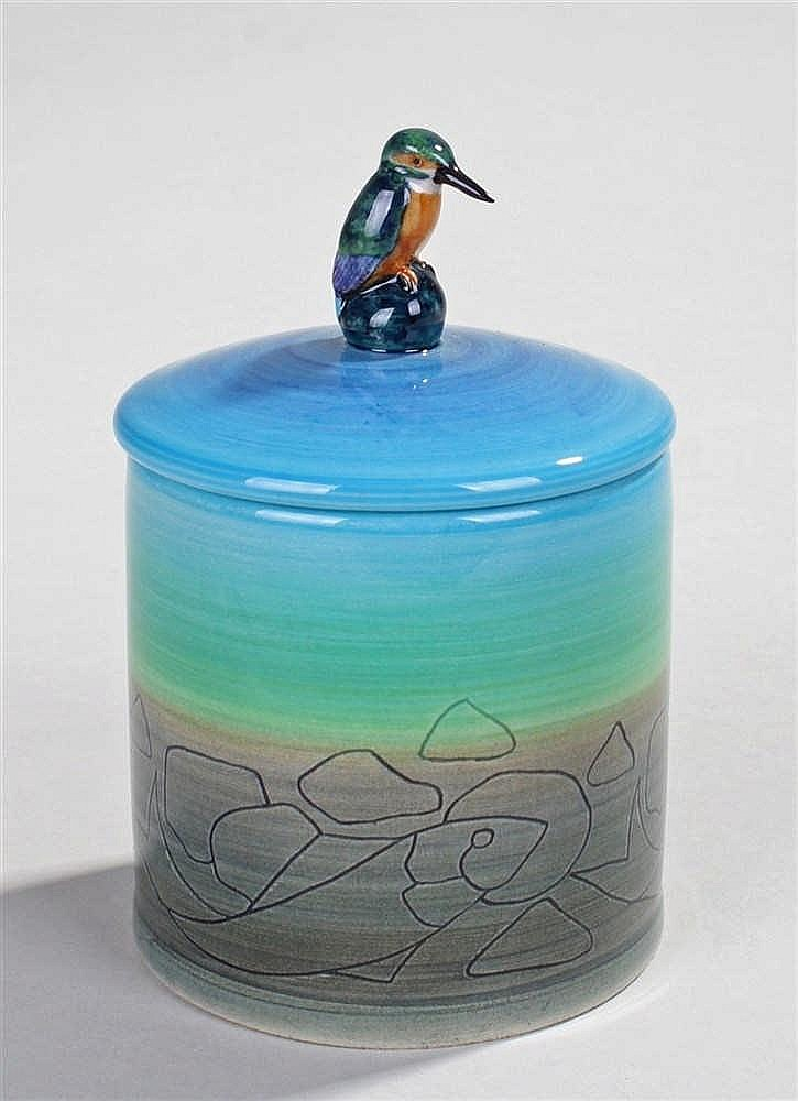 Sally Tuffin for Dennis China Works, cylindrical lidded jar decorated with
