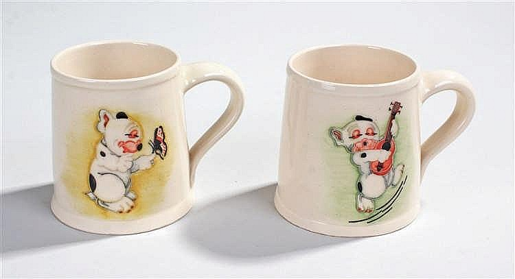 Dennis China Works pair of mugs, decorated with dogs, one with impressed ma