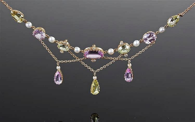 Suffragette interest necklace, set with amethyst, peridot and pearls, the n