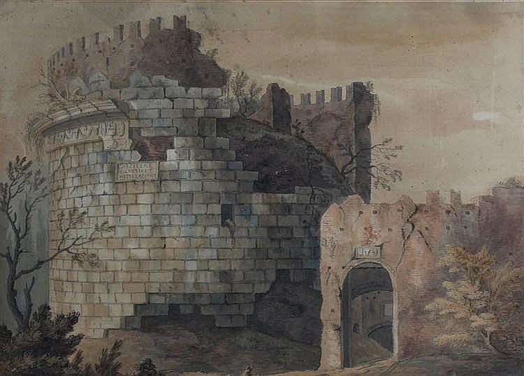18th Century school, Caeciliae Cretici funeral tomb, watercolour, 55cm x 40