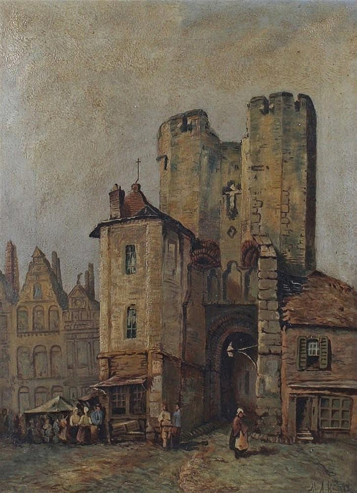 British school, Tower behind a street, oil on canvas, initialled M.A.B. 30c