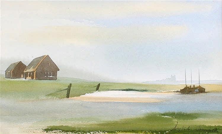 Sybil Harper, Walberswick Quay, watercolour, 30cm x 18cm