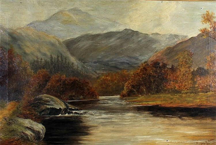 Louis K Harrap, a highland loch, signed oil on canvas dated 1911, 50cm x 75