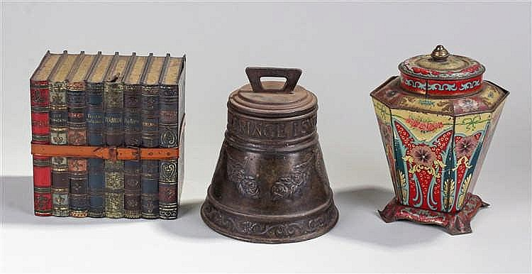 Huntley & Palmer biscuit tin, in the form of a strap bound block of books,