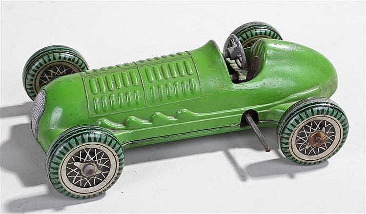 Mettoy clock work toy, the green body with green painted balloon wheels, th