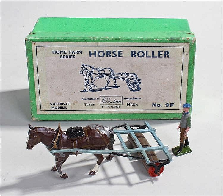 Britains Farm Series 9F Horse Roller and Man, comprising grey roller with b